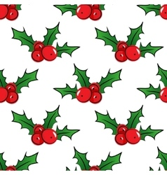 Seamless pattern with holly berries vector image