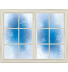 winter window snowflakes vector image