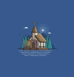 wooden church on the lake vector image