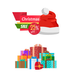 25 off christmas sale emblem with santa claus hat vector