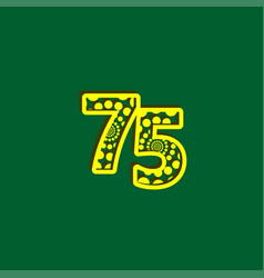 75 anniversary celebration bubble yellow number vector