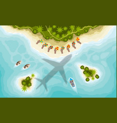 aairplane over tropical islands top view vector image