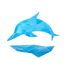 Abstract polygon dolphin isolated design blue vector