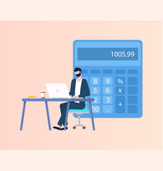 Accountant using laptop doing counting vector
