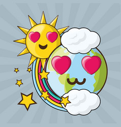 adorable earth and sun over colorful rainbow vector image