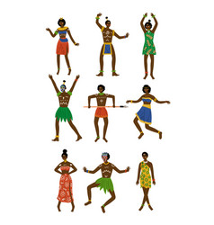 African people set male and female aboriginal vector