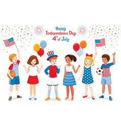 american children celebrating 4th july vector image
