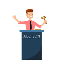 Auction house and young man auctioneer with gavel vector