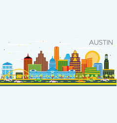 Austin texas skyline with color buildings and vector