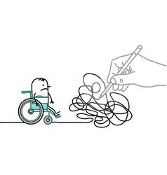 big drawing hand with cartoon disabled man vector image