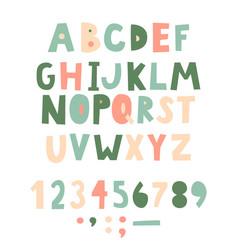 Bold handwritten childish font simple letters vector