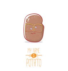 Brown cute little kawaii potato cartoon vector