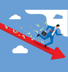businessman runs down line and loses money vector image