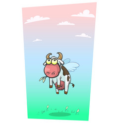 cartoon cool flying cow with cute wings vector image