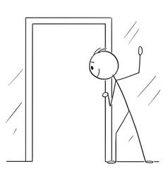 Cartoon curious man or voyeur looking through vector