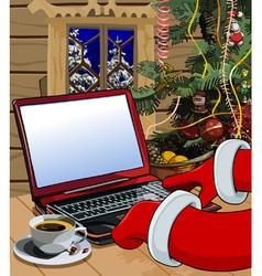 Cartoon santa claus writes a letter on laptop vector