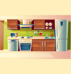 Cartoon set of kitchen counter with vector