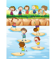Children playing on the cliff vector