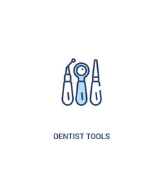 dentist tools concept 2 colored icon simple line vector image