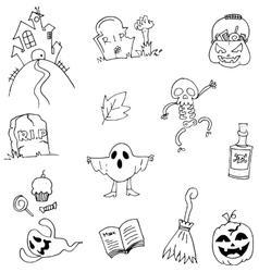 Doodle flat halloween hand draw vector