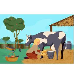 flat organic farm composition vector image