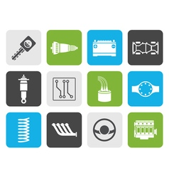 Flat Realistic Car Parts and Services icons vector image