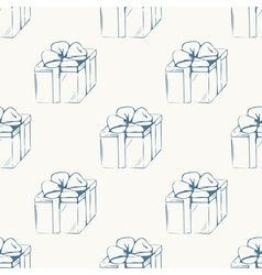 Gift boxes outline seamless pattern vector image