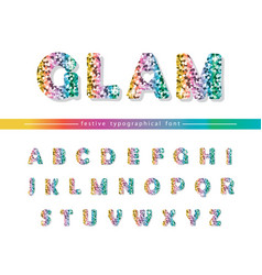 Glitter confetti multicolored font isolated on vector