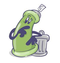 Graffiti spray cartoon character with trash can vector