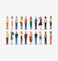 group of people friends characters vector image