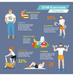 Gym sport exercises infographic vector