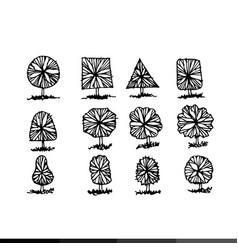 hand draw tree icon design vector image