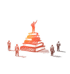 hand drawn leader standing on books heap tribune vector image