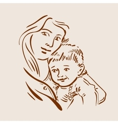 Hand drawn sketch young mother and child vector image