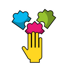 hand human with puzzle pieces vector image