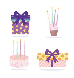 Happy birthday gift boxes cake cupcake and vector