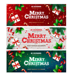 happy new year banner xmas with gifts box green vector image