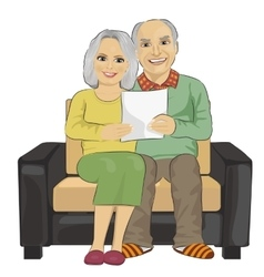 Happy senior couple reading letter together vector