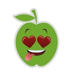 Heart eyes apple cartoon icon vector