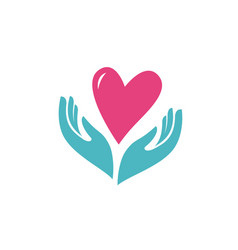 heart in hands symbol health charity logo or vector image