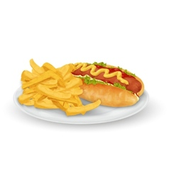 Hot dog french fries vector image