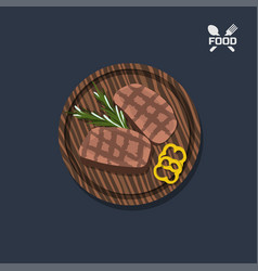 Icon of steak on a wooden plate top view vector