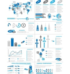 INFOGRAPHIC DEMOGRAPHICS WEB ELEMENTS BLUE vector image