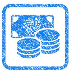 Iota cash framed stamp vector