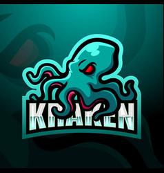 Kraken mascot esport logo design vector