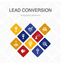 Lead conversion infographic 10 option color design vector