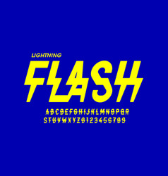lightning flash style font design alphabet vector image