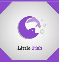 little fish icon logo vector image