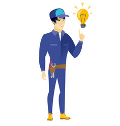 mechanic pointing at bright idea light bulb vector image