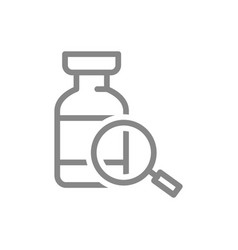 Medical ampoule and magnifying glass line icon vector